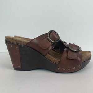 Dansko Fern Wedge Sandals Brown Leather